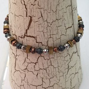 NEW Stretch Bead Blue Copper Gold Bracelet